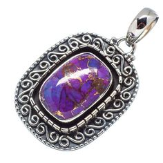 "Purple Copper Composite Turquoise 925 Sterling Silver Pendant 1 1/2"" PD549898"