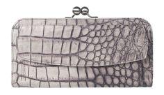 Portemonnaie Kellner groß Leder Kroko Vintage leather croco Börse mit Bügel grau PB1 SOMONI alligator pecan