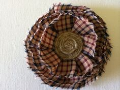 Blue and Red Plaid Pin with Twine Center. Country Primitive  on Etsy, $7.00