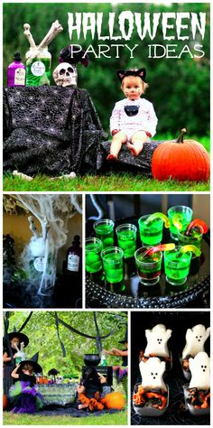 An adorable witches kitchen outside party with potions and yummy treats!  See more party planning ideas at CatchMyParty.com!