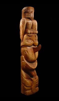 Doug Horne Totem with Eagle, Owl, Killer Whale and Wolf. Red Cedar. 9 Feet. Northwest Coast First Nations art.
