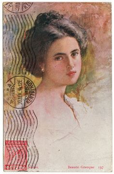 a vintage postcard from 1915 as it was received. I love the stamp and postmark on the front.