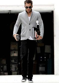 grey jersey-blend, white tee, black jeans, converse-like / men fashion