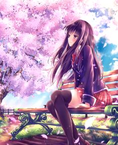 anime girl in uniform sitting on bench, with a beautiful sakura standing beside her. The petals flowing in the spring's breeze.