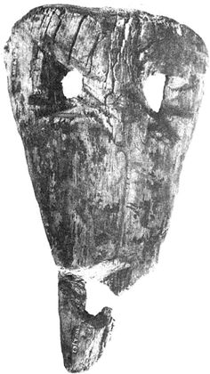 Drewniana maska (karaboszka), przeznaczenie kultowe, obrzędowe, prawdopodobnie powiązana ze świętem Dziadów. X-XI w. Opole (woj.Opolskie). Polska