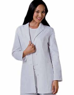 A chic 32-inch short lab coat for women is in a notched lapel collar and a four-button closure.