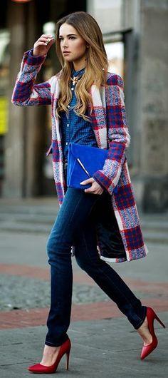 Street fashion plaid coat, denim and red heels