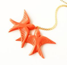 Tangerine orange resin swallow love birds gold by bunnyboutique