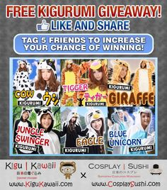 FREE KIGURUMI GIVEAWAY  Countdown to Black Friday Giveaway from Kigu Kawaii and Cosplay Sushi! ヾ(^∇^)  Want to win one of these Kigurumi for FREE? Here's how to!  https://www.facebook.com/CosplaySushi/photos/a.137265316464171.1073741830.137199429804093/290611584462876/?type=1&theater