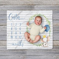 Personalized Baby Name Blanket 07 Blue Mint Gray Swaddling Blanket Photo Prop