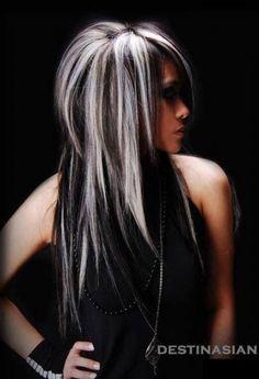 Black Wavy Hair With Silver Blonde Highlights (medium layered hair black) Guy Tang Hair, Edgy Chic, Great Hairstyles, Blonde Hairstyles, Long Shag Hairstyles, Shaggy Haircuts, Scene Hairstyles, Layered Hairstyles, Hairstyles 2018