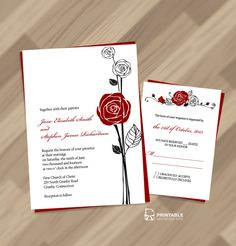 red rose, love and hapiness wedding invite
