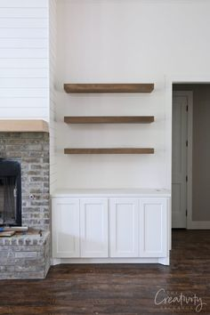 Client Project Sneak Peek: Splurging and Saving Fireplace Built Ins, Home Fireplace, Fireplace Remodel, Fireplaces, Basement Fireplace, Fireplace Update, Faux Fireplace, Fireplace Ideas, Built In Shelves Living Room