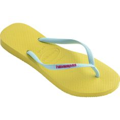 Havaianas Slim Logo Pop-Up (£18) ❤ liked on Polyvore featuring shoes, sandals, flip flops, revival yellow, women, havaianas flip flops, rubber shoes, havaianas shoes, print shoes and rubber flip flops