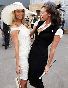 Jennifer Hawkins and Megan Gale Derby Day Fashion, Race Day Fashion, Races Fashion, Fashion Models, Race Day Outfits, Derby Outfits, Races Outfit, Kentucky Derby Outfit, Kentucky Derby Fashion