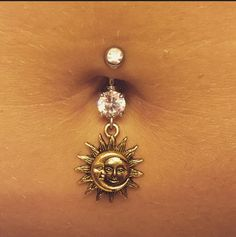 Sun and moon belly ring