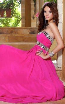 Fuchsia Empire,Sheath/Column Strapless,Sweetheart Empire Long/Floor-length Sleeveless Chiffon Zipper Up Prom Dresses Dress