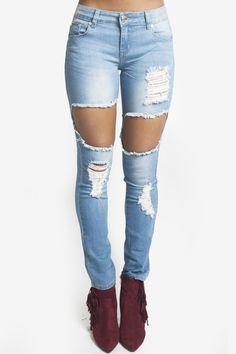 Stretch Denim Destroyed Skinny Jeans