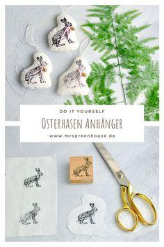 DIY für kleine Osterhasen Anhänger aus Stoff. Die Anleitung und noch mehr Ideen findest ihr auf meine Blog www.mrsgreenhouse.de #Osterhasen #Osterschmuck #Osterdeko