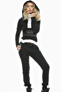 Black Street Fashion Hooded yoga pants Jogging Suit. Super trendy everyday look in the Black Street Fashion Hooded Jogging Suit . This hoodie is a perfect layering piece for women of various ages. Hooded sweatshirt with slim fit pants dropship together. This trendy jogging suit is suitable for informal occasions, you can wear it in daily or doing sports.  Size Chart …