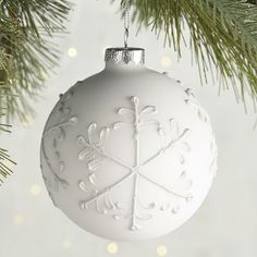 Matte Snowflake Ball Ornament