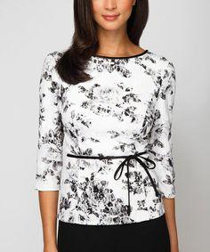 Another great find on #zulily! Black & White Rose Tie-Waist Three-Quarter Sleeve Top - Plus #zulilyfinds