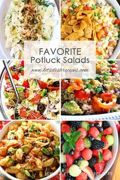 Favorite Potluck Salad Recipes: Youll always be prepared to bring something delicious to a potluck or backyard barbecue with this collection of over 40 crowd pleasing salad recipes. Best Potluck Dishes, Church Potluck Recipes, Easy Potluck Recipes, Healthy Potluck, Potluck Salad, Healthy Salad Recipes, Work Potluck, Potluck Lunch Ideas, Potluck Meals