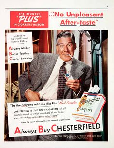 PAUL DOUGLAS for Chesterfield cigarettes - Visit 'Virtual Scrapbook' by Gerald Lyda on Pinterest for more than 170,000 categorized celebrity images.