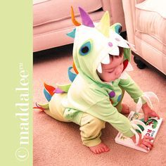 DIY Little Dinosaur Halloween Costume, Free Tutorial and Pattern