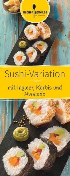 Kürbis auf asiatisch: Verarbeitet das orange Gemüse doch einfach einmal zu vegetarischem Sushi! Sashimi, Avocado, Ceviche, Finger Foods, Tasty, Asian, Snacks, Breakfast, Gourmet