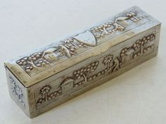 ANTIQUE 19thC INDIAN BURMESE SOLID SILVER RELIEF REPOUSSE BOX BLANK CARTOUCHE