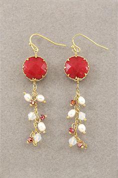 Handmade Red Coral Dangle Earrings  $49