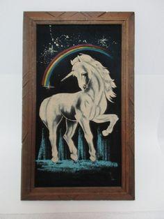 Vintage Unicorn Painting on Black Velvet Rainbow Stars Magical Unicorn
