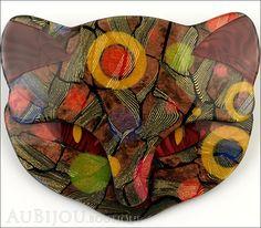 Lea Stein Bacchus The Cat Head Brooch Pin Multicolor Pattern