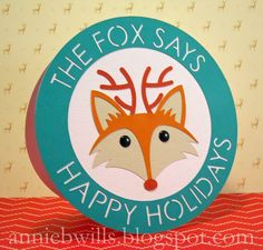 Happy Holidays from the Fox Card by Annie Williams - made using Silhouette Adhesive Cardstock and my CAMEO #silhouettedesignteam