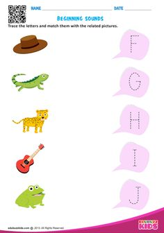 Free english beginning sounds that help preschoolers to learn by tracing and matching the letters with related pictures. Preschool Number Worksheets, Beginning Sounds Worksheets, Nursery Worksheets, English Worksheets For Kindergarten, Preschool Phonics, English Worksheets For Kids, Preschool Writing, Phonics Worksheets, Lkg Worksheets