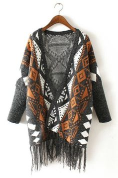 Ethnic Style Collarless Long Sleeve Fringed Women's CardiganSweaters & Cardigans | RoseGal.com