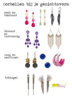 Kies oorbellen die bij je gezichtsvorm passen |www.lidathiry.nl| #kledingtip #oorbellen