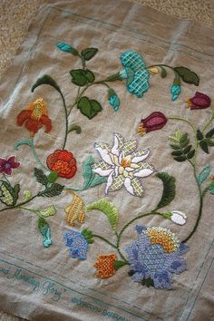 crewel embroidery pillow by mellow_stuff