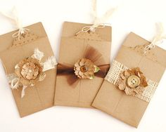 3 EMBELLISHED Recycled Brown Bag Pockets and by PapersAndPetals, $5.75