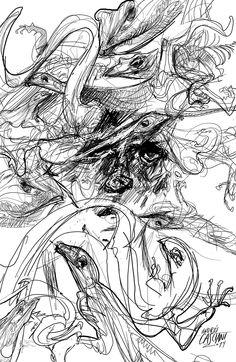 """""""Escamas"""" ilustración de Andrés Casciani para el libro """"Minificciones"""" de Paulo Neo - digital, 2014/"""