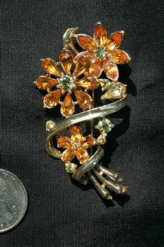 Vintage Coro Rhinestone Flower Pin with by AuntBeasBling on Etsy