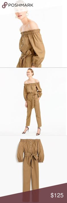 🆕 NWT JCrew Jumpsuit NWT JCrew Khaki Jumpsuit with belted waist. This Jumpsuit has an adjustable off the shoulder and buttons up the front. I personally love and own this Jumpsuit and you will too ❤️. Perfect addition to anyone's closet. Serious offers considered. 🚫NO TRADES🚫  💕Thank you for shopping my closet 🛍💕 J. Crew Pants Jumpsuits & Rompers