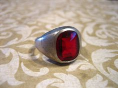 Art Deco Sterling Silver Ring with Synthetic by charmingellie, $45.00