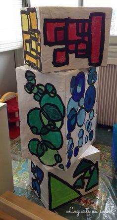 Art formes géométriques empreintes nuances couleurs GS maternelle CP