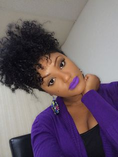 Natural hair/ high puff/ matte lippie.