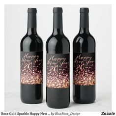 Rose Gold Sparkle Happy New Year Wine Label Personalized Wine Labels, Gold Sparkle, Party Items, New Years Party, Bottle Labels, Photo Quality, Christmas Card Holders, Happy New Year, Wine Rack