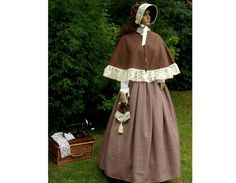 Ladies 4pc Victorian costume or  American Civil War costume brown & cream size 14-18 gentry on Etsy, $78.11