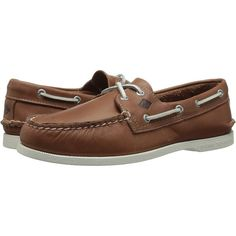 Sperry Top-Sider A/O 2-Eye Sarape (Tan) Men's Lace up casual Shoes ($40) ❤ liked on Polyvore featuring men's fashion, men's shoes, tan, sperry mens shoes, mens moccasins, mens lace up shoes, mens tan shoes and mens topsiders