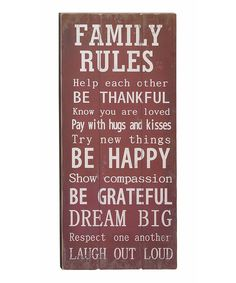 'Family Rules' Wall Art